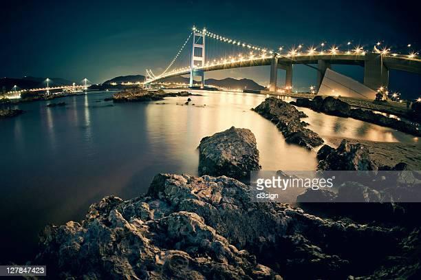 Illuminated Tsing Ma Bridge at night