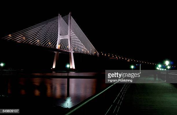 Illuminated Vasco da Gama Bridge at night
