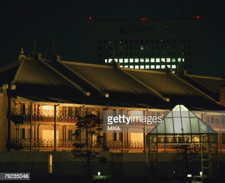 Illuminated Warehouse in Yokohama, Japan : Stock Photo
