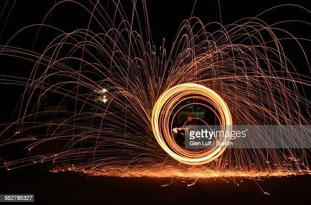 Illuminated Wire Wool At Night