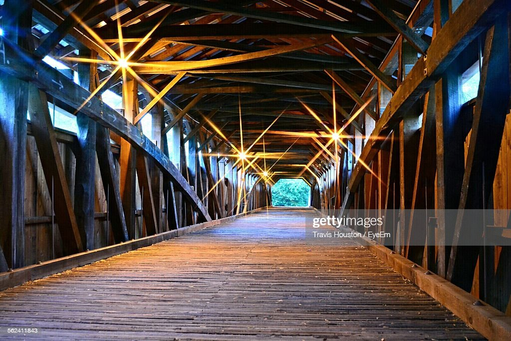 Illuminated Wooden Footbridge