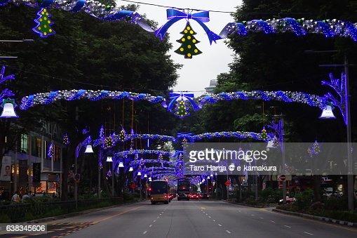 Illumination arch on Singapore Orchard street before Christmas