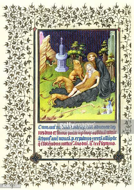 Illumination depicting the Story of Saints Anthony and Paul the Hermit from the Belles Heures of Jean de France Duc de Berry an early 15thcentury...