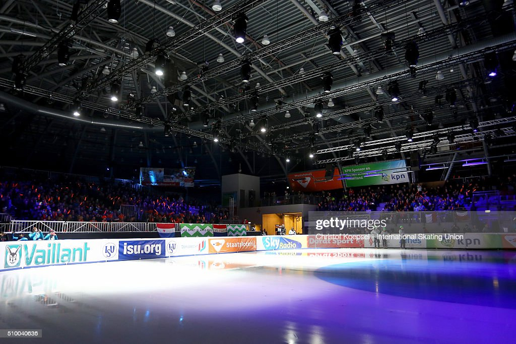 Illuminations during Day 2 of ISU Short Track World Cup at Sportboulevard on February 13, 2016 in Dordrecht, Netherlands.