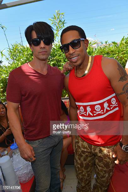 Illusionist Criss Angel and actor/rapper Ludacris appear at the Palms Pool Ditch Fridays at the Palm Casino Resort on June 7 2013 in Las Vegas Nevada