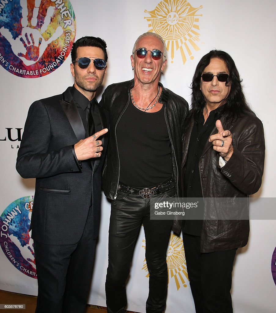 Illusionist Criss Angel, singer Dee Snider and guitarist Eddie 'Fingers' Ojeda of Twisted Sister attend Criss Angel's HELP (Heal Every Life Possible) charity event at the Luxor Hotel and Casino benefiting pediatric cancer research and treatment on September 12, 2016 in Las Vegas, Nevada.