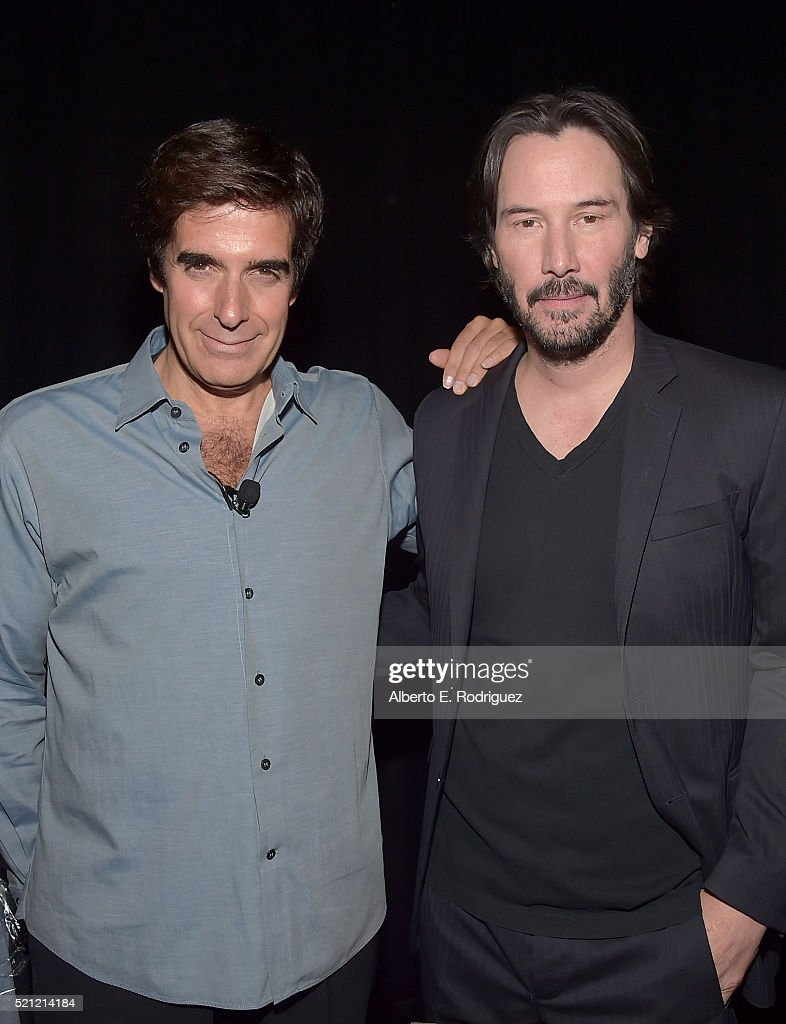 cinemacon  illusionist david copperfield l and actor keanu reeves attend cinemacon 2016 experience the