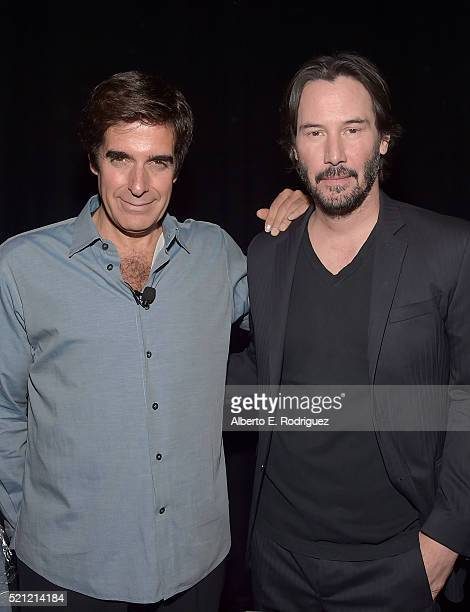"Illusionist David Copperfield and actor Keanu Reeves attend CinemaCon 2016 ""Experience the Magic of Lionsgate' A 2016 Sneak Peek and Special Advanced..."