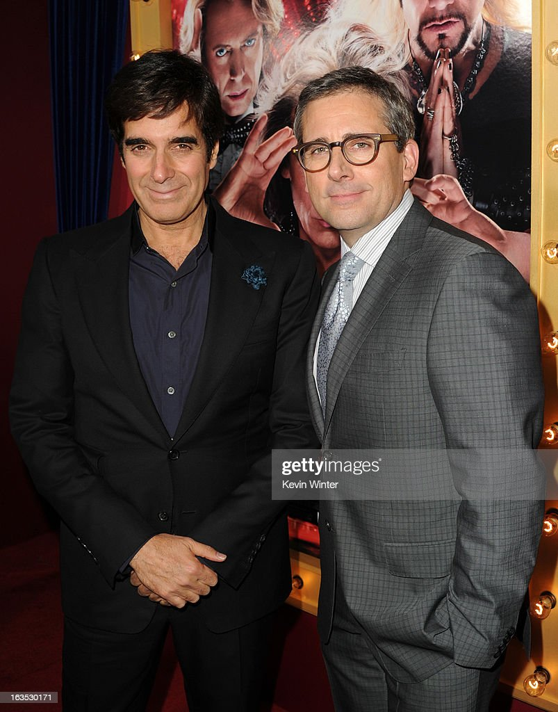 Illusionist David Copperfield (L) and actor/producer Steve Carell attend the premiere of Warner Bros. Pictures' 'The Incredible Burt Wonderstone' at TCL Chinese Theatre on March 11, 2013 in Hollywood, California.