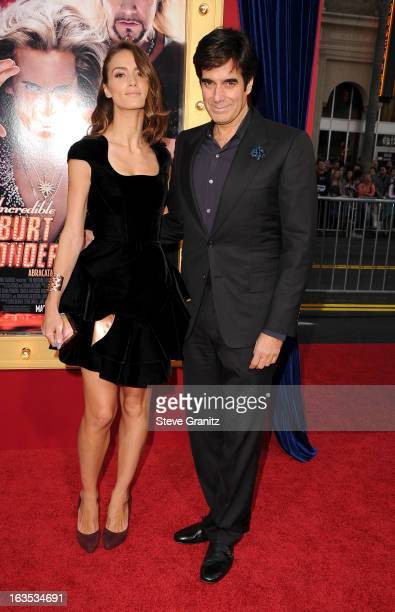 Illusionist David Copperfield and Chloe Gosselin attend 'The Incredible Burt Wonderstone' Los Angeles Premiere at TCL Chinese Theatre on March 11...