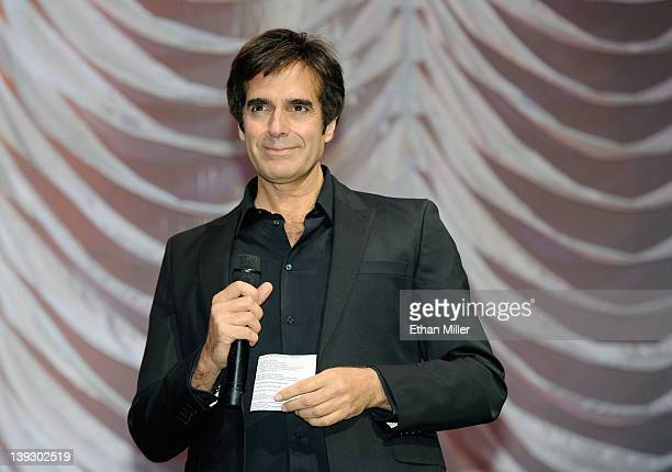 Illusionist David Copperfield speaks onstage at the Keep Memory Alive foundation's 'Power of Love Gala' celebrating Muhammad Ali's 70th birthday at...