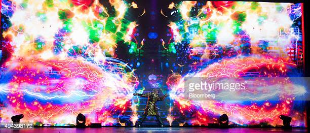 Illusionist Franz Harary performs in the House of Magic arena at the Studio City casino resort developed by Melco Crown Entertainment Ltd ahead of...