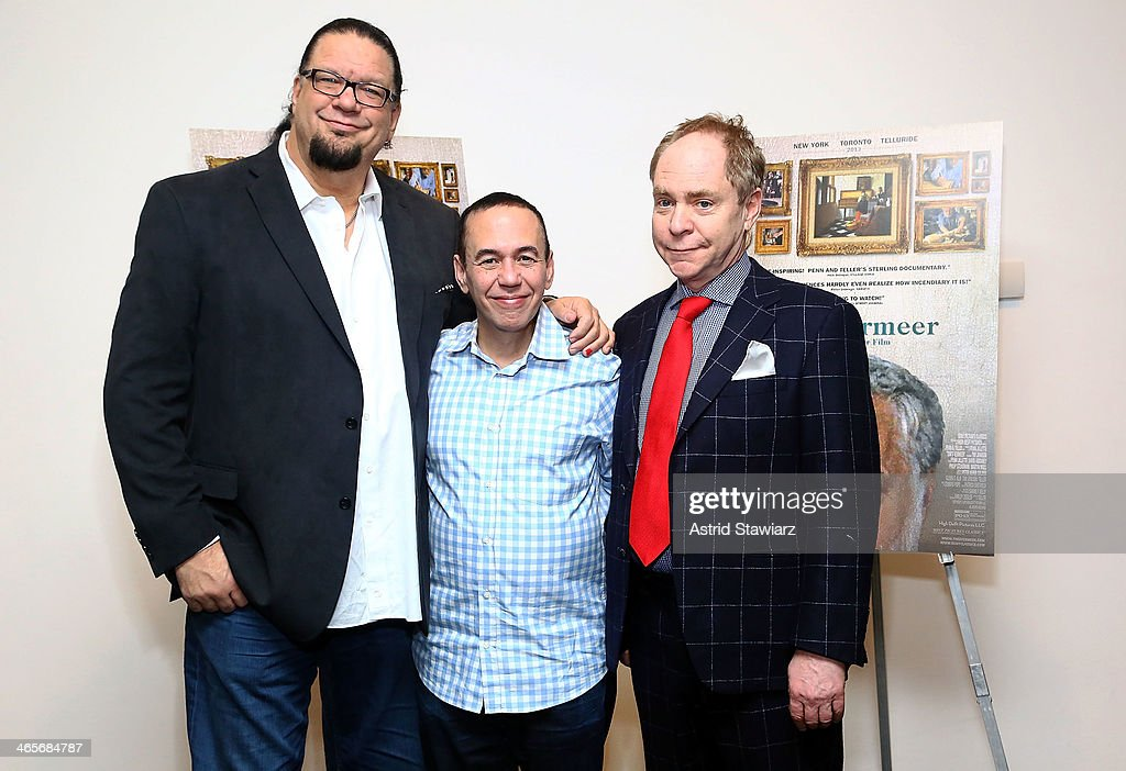 Illusionist Penn Jillette comedian Gilbert Gottfried and director/illusionist Teller attend the 'Tim's Vermeer' special screening at Museum of Modern...