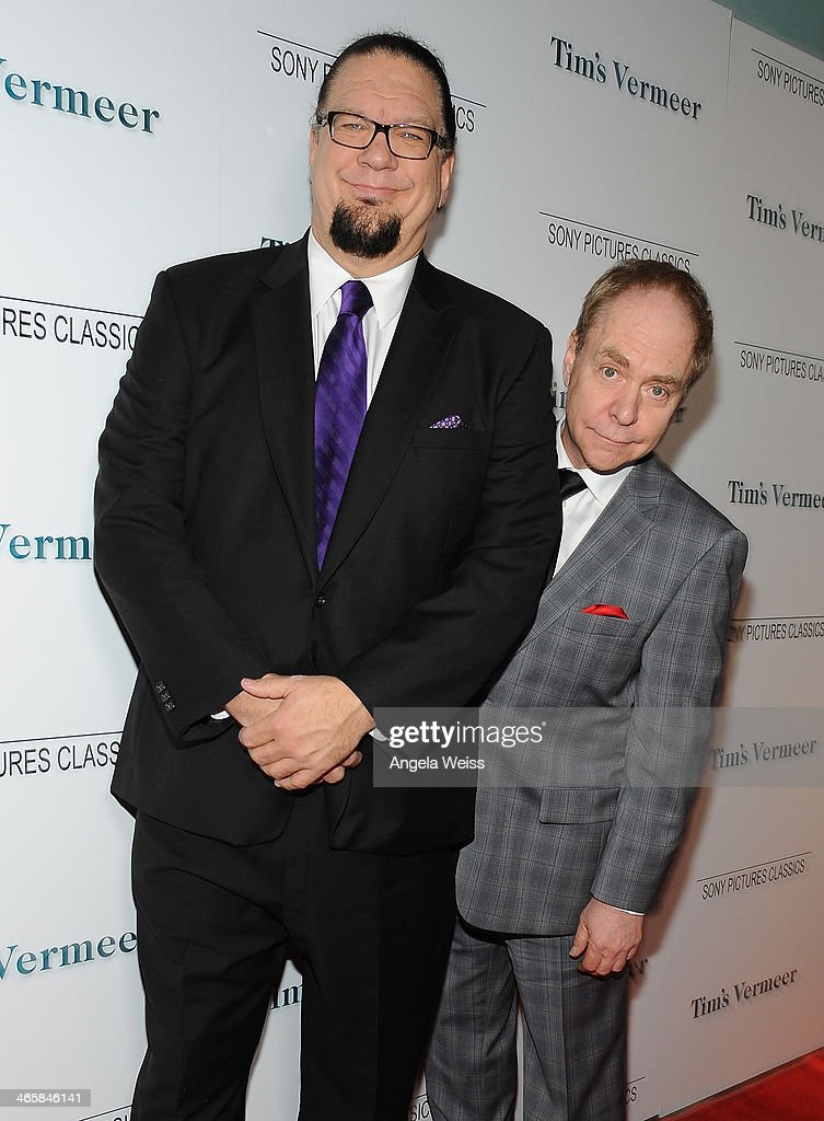 Illusionists Penn Jillette and Teller attend the premiere of Sony Pictures Classics' 'Tim's Vermeer' at Pacific Design Center on January 29 2014 in...