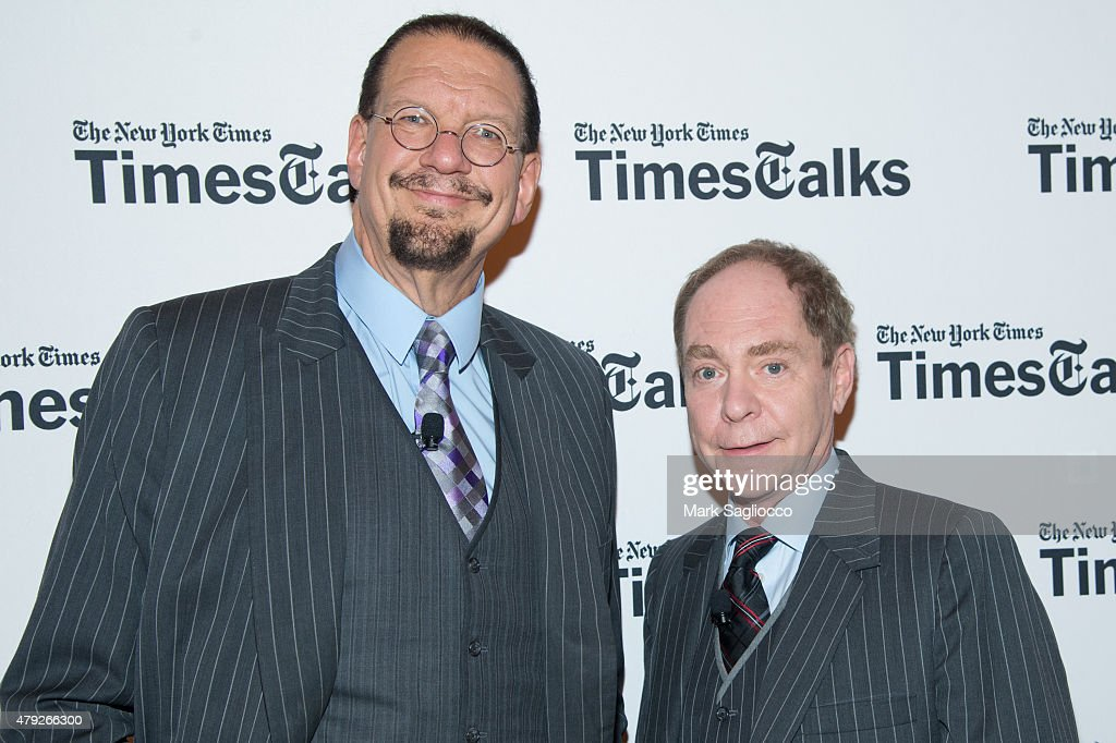 Illusionists Penn Teller attend TimesTalks at The Times Center on July 2 2015 in New York City