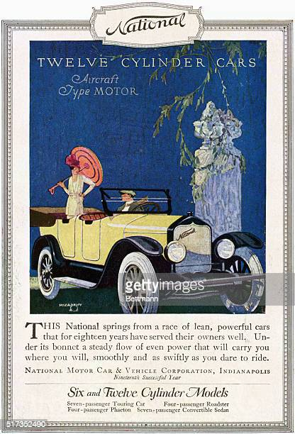 Illustrated advertisement with text for National's 12cylinder cars The illustration features a yellow convertible whose male driver is looking at a...