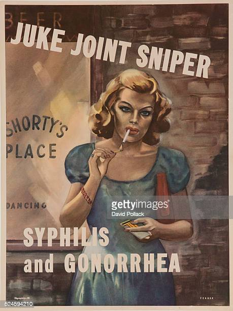 Illustrated by Ferree a cigarette smoking woman stands outside a drinking and dancing 'joint' illustrating the unseen dangers of frequenting such an...