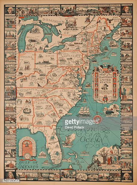 1929 illustrated by Griswald Tyng Detailed map of the Eastern United States showing icons and information about each state