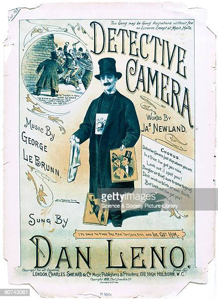 Illustrated cover of sheet music for a music hall turn performed by Dan Leno words by James Newland music by George le Brun The song was inspired by...