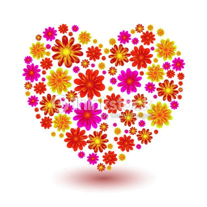 Illustrated Floral Heart Shape Ideal Love Icon Or Symbol Stock Photo