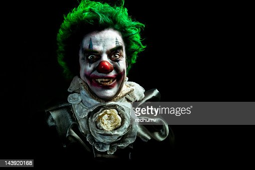 Illustrated image of an evil vampire clown