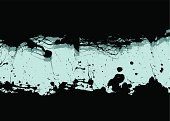 Illustrated ink splat grunge background with copy space in blue