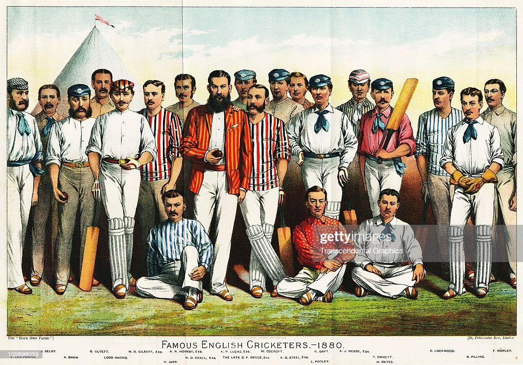 Illustrated lithographic portrait shows �Famous English Cricketers, 1880.� Pictured are, from left, James Lillywhite (1842 - 1929), John Selby (1849 - 1894), Alfred Shaw (1842 - 1907), George Ulyett (1851 - 1898), George Harris, 4th Baron Harris (1851 - 1932), Walter Raleigh Gilbert (1853 - 1924), Henry Jupp (1841 - 1889), Albert Nelson Hornby (1847 - 1925), WG Grace (born William Gilbert Grace, 1848 - 1915), William Oscroft (1843 - 1905), Allan Gibson Steel (1858 - 1914), Richard Daft (1835 - 1900), Edward Pooley (better known as Ted Pooley, 1842 - 1907), Alexander Josiah Webbe (1855 - 1941), Tom Emmett (1842 - 1904), Willie Bates (better known as Billy Bates, 1855 - 1900), Ephraim Lockwood (1845 - 1921), Richard Pilling (1855 - 1891), and Fred Morley (1850 - 1884).