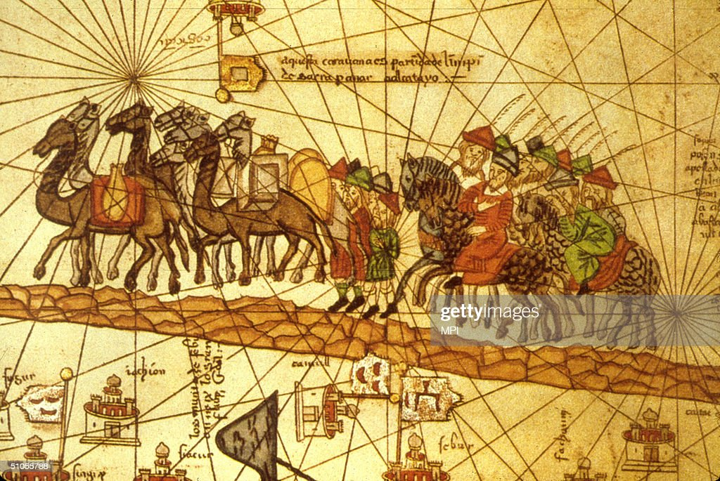 Illustrated map depicting the journey of the Venetian merchant <a gi-track='captionPersonalityLinkClicked' href=/galleries/search?phrase=Marco+Polo&family=editorial&specificpeople=79051 ng-click='$event.stopPropagation()'>Marco Polo</a> (1254 - 1324) along the silk road to China.