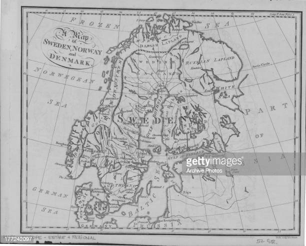 Illustrated map of Sweden Norway and Denmark circa 18001900
