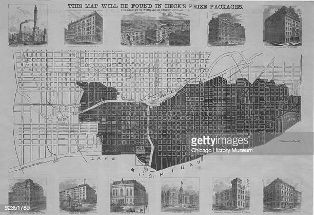 Illustrated map showing the burnt districts in Chicago resulting from the Great Fire of 1871 Chicago