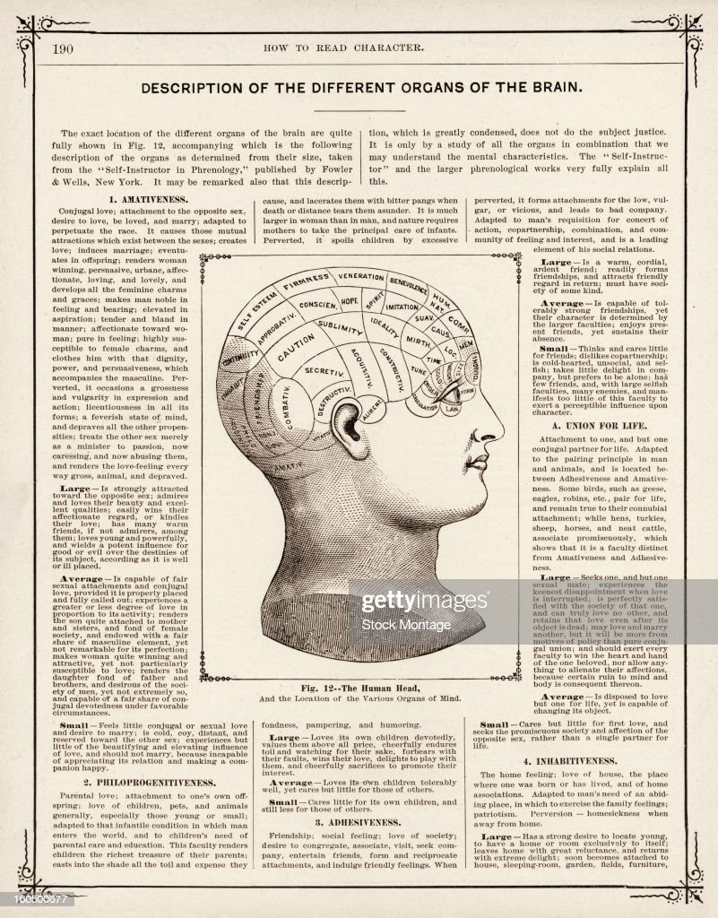 Illustrated page from the book 'Hill's Album of Biography and Art' features an engraved illustration of a human head and text related to the...