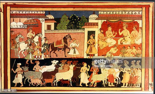 Illustrated page from the manuscript of Ramayana The wedding procession of Rama India Hindu 1649 Mewar