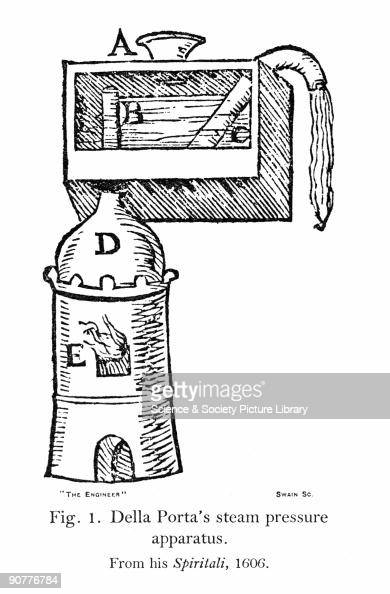 Illustrated plate taken from 'De' spiritali' by Italian scientist Giambattista Della Porta showing a steam engine