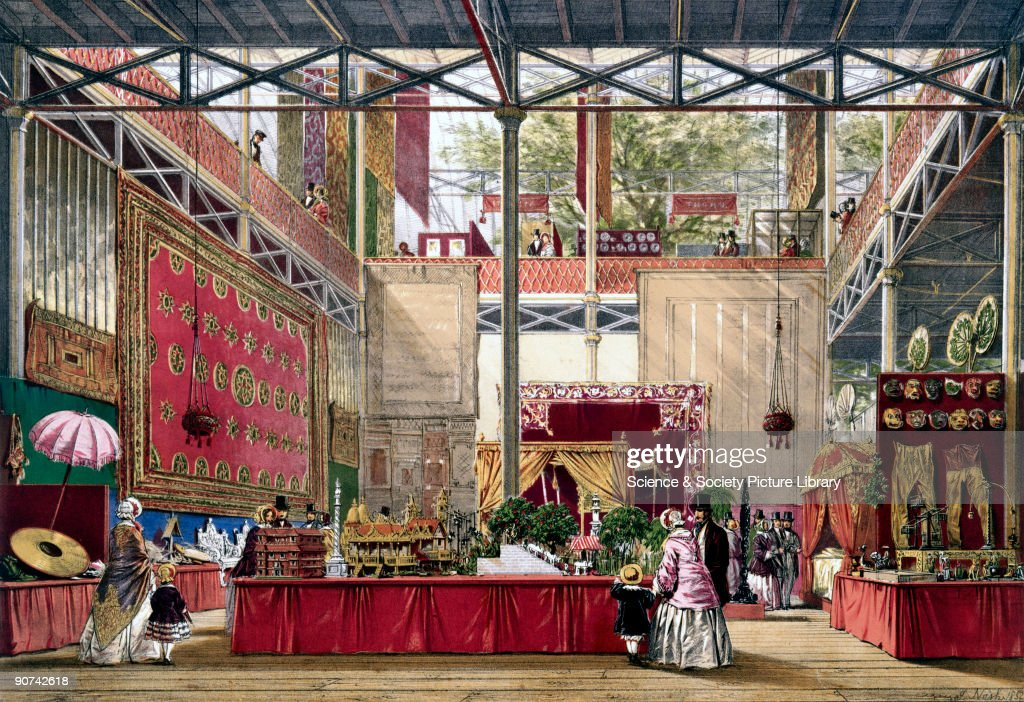 Illustrated plate taken from Dickinsons� �Comprehensive Pictures of The Great Exhibition' Prominent objects on display included a needlework carpet...