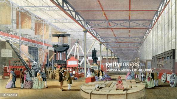 Illustrated plate taken from Dickinsons� �Comprehensive Pictures of The Great Exhibition� showing visitors admiring the equipment made by the fire...