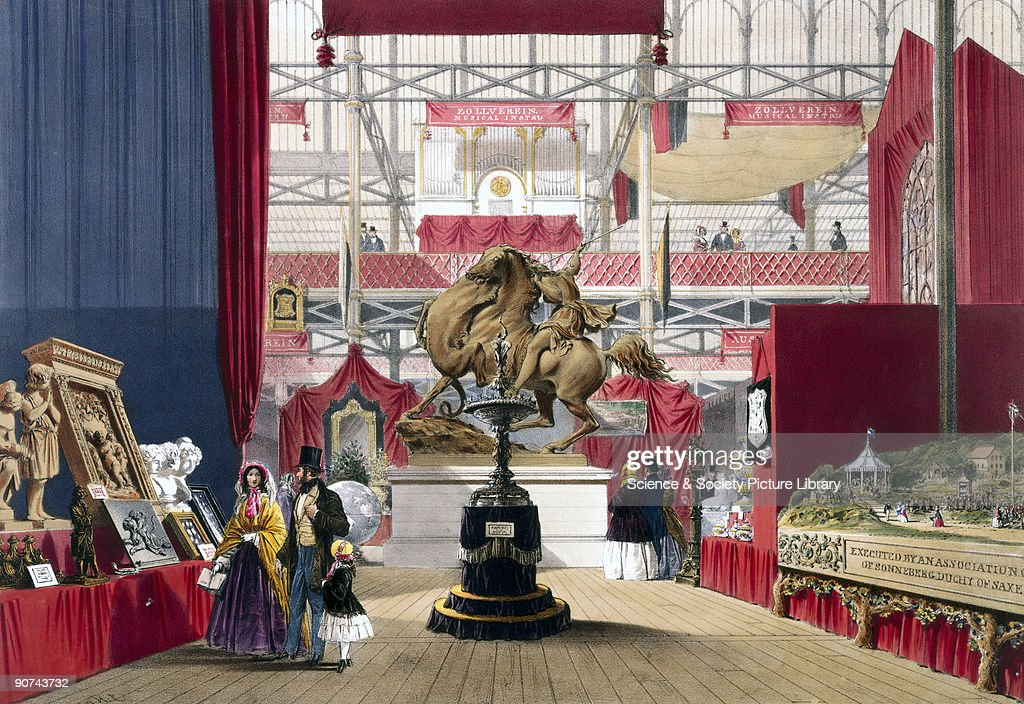 Illustrated plate taken from Dickinsons� �Comprehensive Pictures of The Great Exhibition� Prominent objects on the Zollverein stand included Amazon...