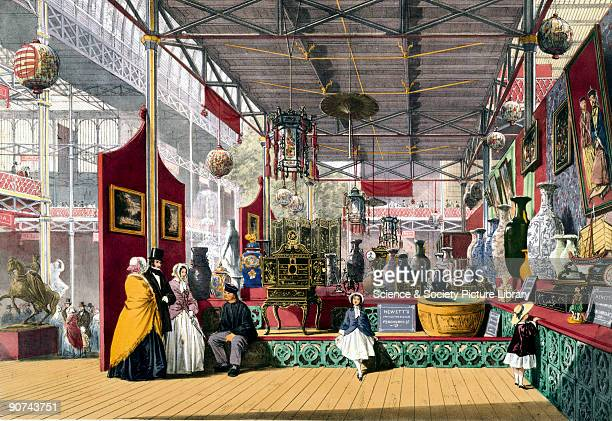 Illustrated plate taken from Dickinsons� �Comprehensive Pictures of The Great Exhibition' Prominent objects on display included cabinets vases lamps...