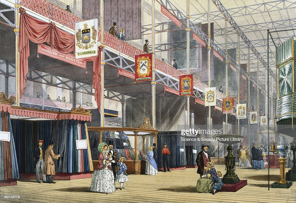 Illustrated plate taken from Dickinsons� �Comprehensive Pictures of The Great Exhibition' showing Clay�s case of woollen products and the Brett...