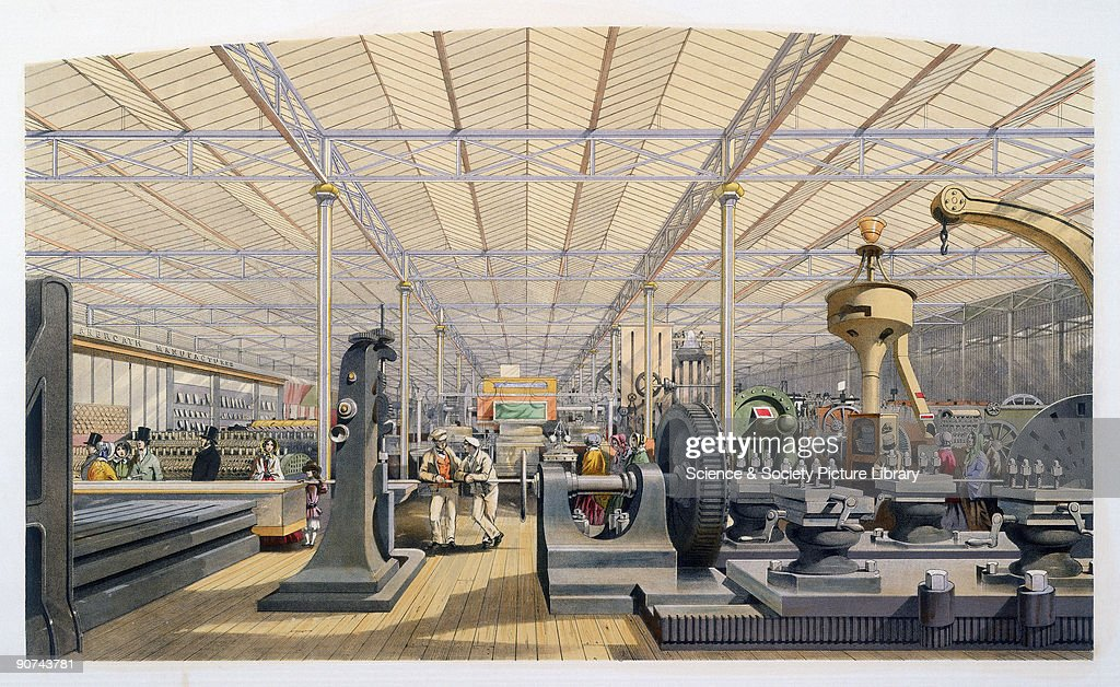 Illustrated plate taken from Dickinsons� 'Comprehensive Pictures of The Great Exhibition' Prominent objects on display include tools for planing...