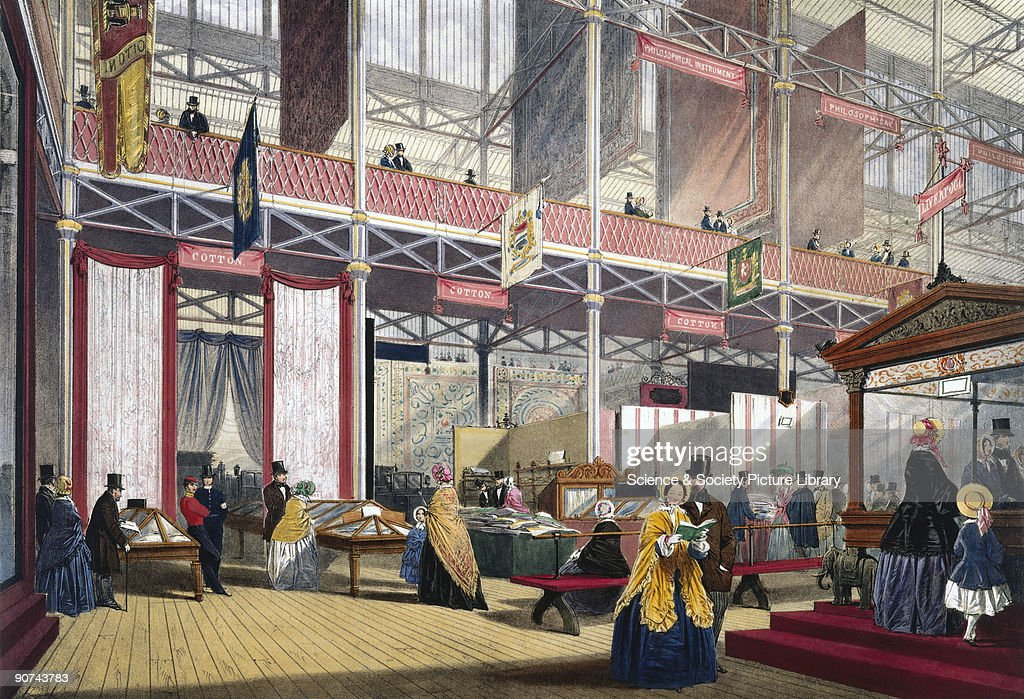 Illustrated plate taken from Dickinsons� �Comprehensive Pictures of The Great Exhibition' Prominent objects on display included a case of crape cloth...