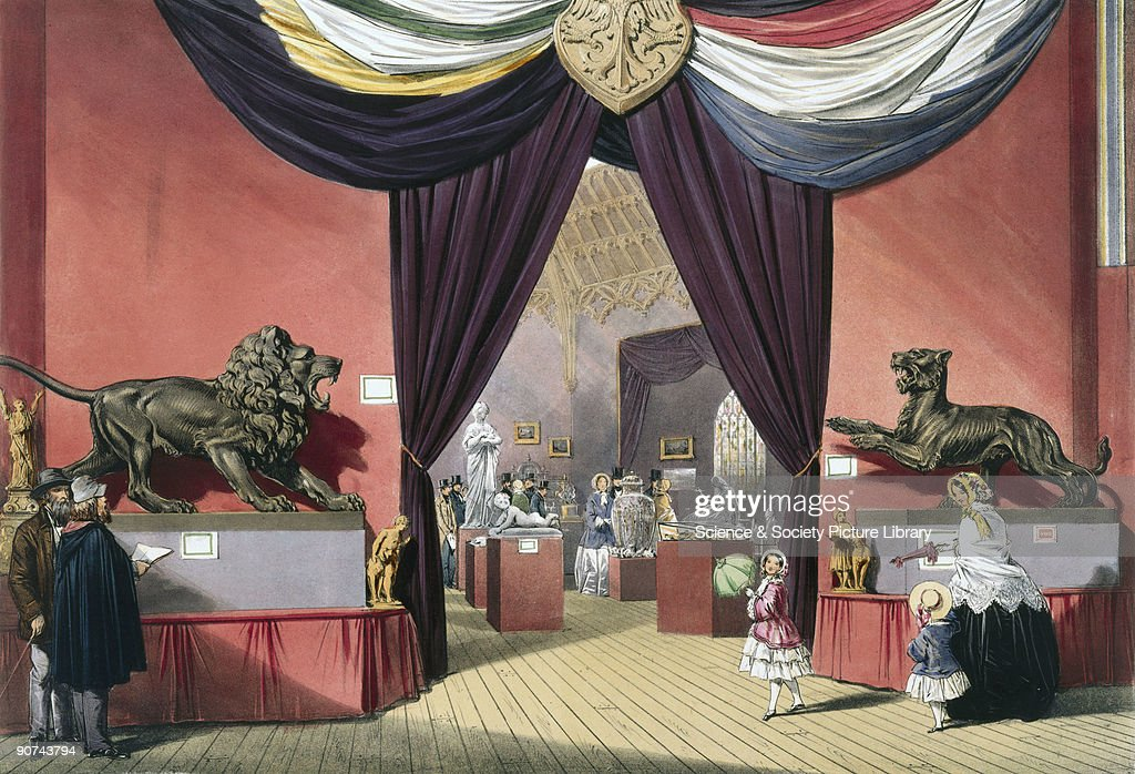 Illustrated plate taken from Dickinsons� �Comprehensive Pictures of The Great Exhibition' Prominent objects on display included a lion and panther in...