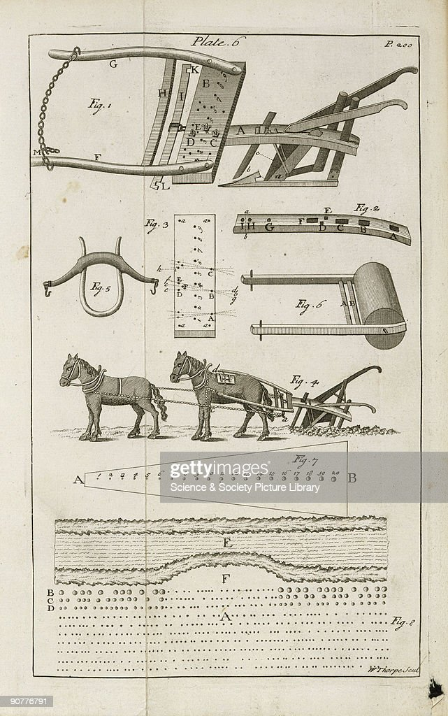 Illustrated plate taken from 'The horsehoing husbandry' by Jethro Tull showing his �HoPlow� a plough pulled by horses designed to drop seed Tull...