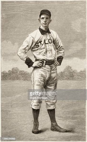 Illustrated portrait of American baseball player Charlie Comiskey of the St Louis Browns as he stands with his hands on his hips October 1888