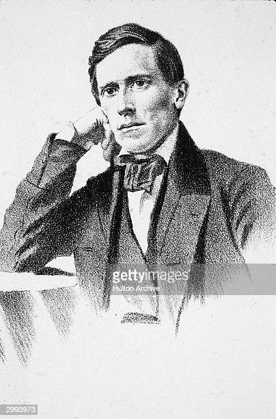Illustrated portrait of American composer Stephen Collins Foster circa 1850