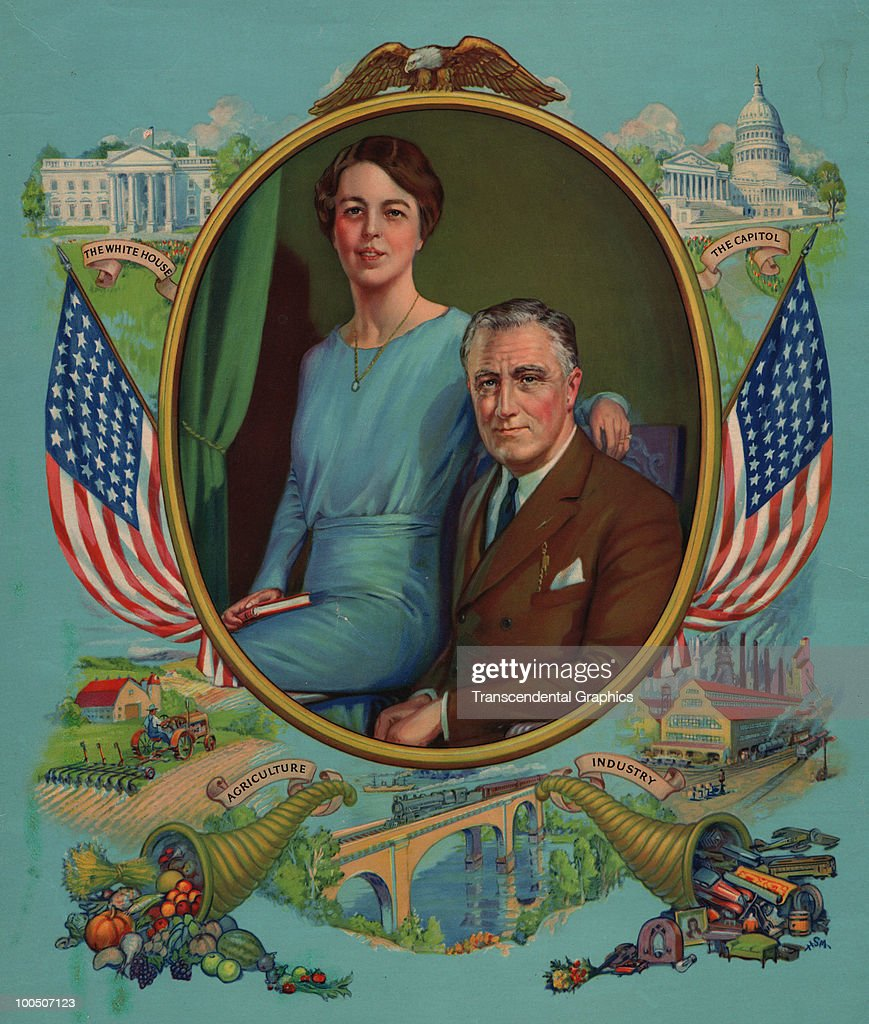 Illustrated portrait of American President Franklin D. Roosevelt (1882 - 1945) and First Lady Eleanor Roosevelt (1884 - 1962) as they pose, surrounded by vignettes that suggest national prosperity, 1930s.