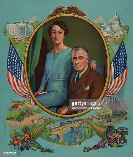 Illustrated portrait of American President Franklin D Roosevelt and First Lady Eleanor Roosevelt as they pose surrounded by vignettes that suggest...