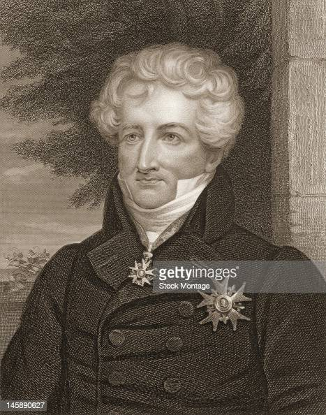 Illustrated portrait of French naturalist Georges Cuvier early to mid 19th century