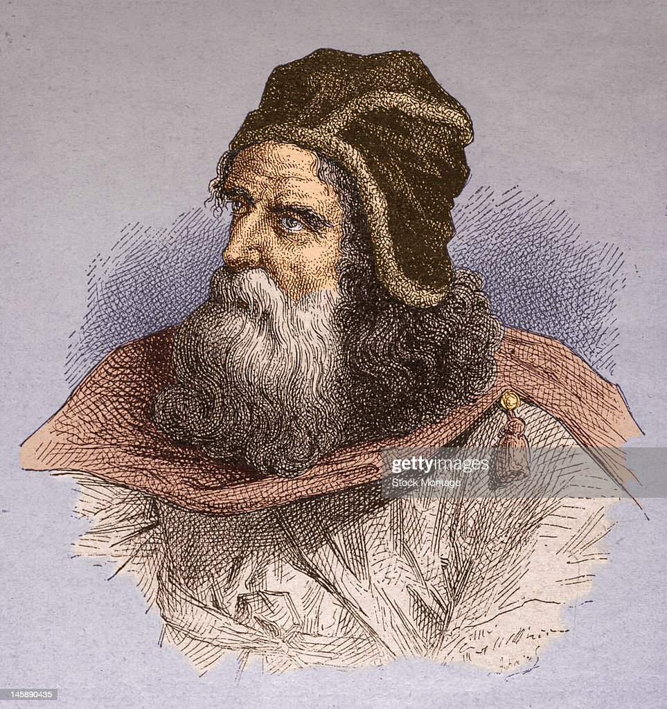 Illustrated portrait of Greek mathematician and inventor Archimedes early 200s BC