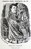 Illustrated portrait of Mary Elizabeth Braddon a British novelist By Edward Linley Sambourne Dated 1881