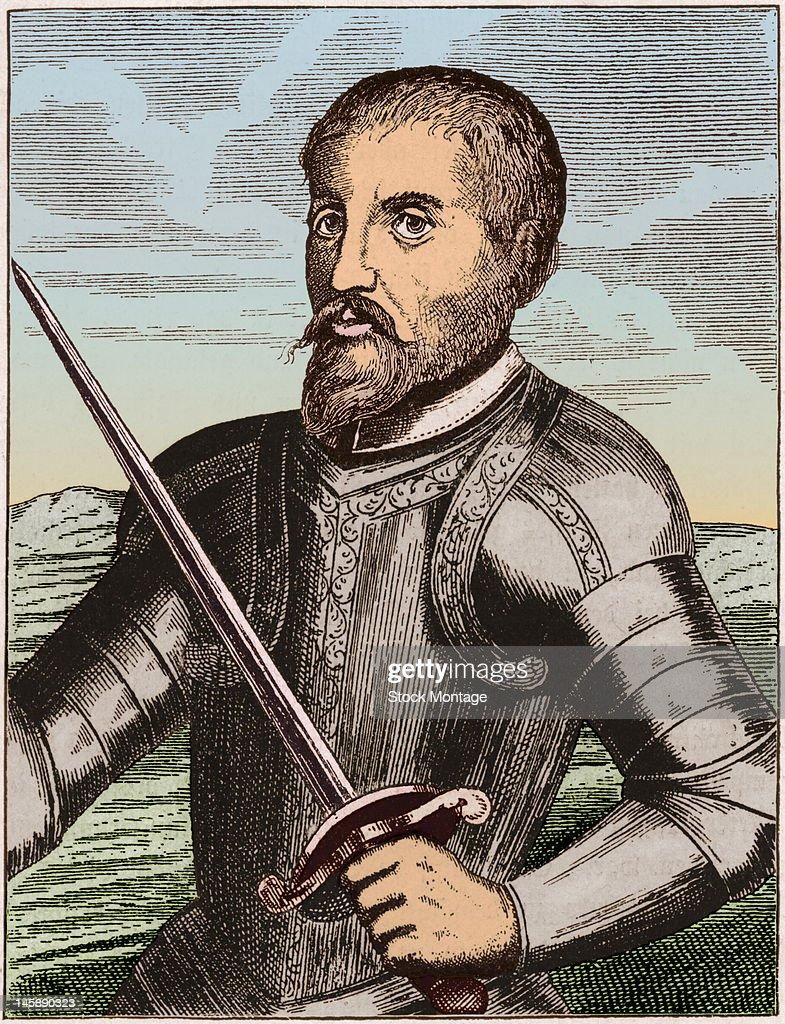 Illustrated portrait of Spanish explorer Hernando de Soto early to mid 16th century